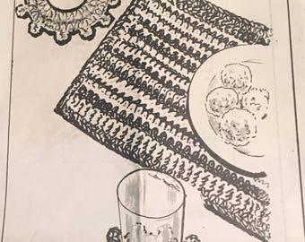 Vintage Crochet Easy Placemat and Coaster Set  Vintage Placemat