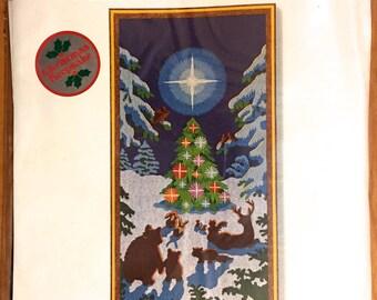 EMBROIDERY Kit ENCHANTED FOREST Vintage Sunset Stitchery Christmas Crewel Sealed