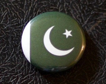 "1"" Pakistan flag button, country, pin, badge, pinback, Made in USA"