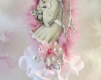Fairy Girl Christmas Ornament, Vintage Victorian Images, Angels, Fairies, Pixies, Tree Ornament, Pastel, Cottage Chic, Shabby