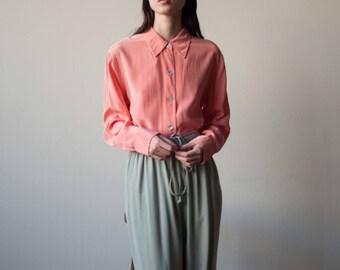 peach pink silk oversized blouse / button down shirt / silk minimalist top / s / m / 3062t / B18