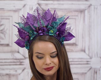 Purple and Teal Ocean Goddess Headdress, Costume Headdress, Mermaid Headpiece, Siren Headdress, Costume Headpiece, Fantasy, Costume, Cosplay
