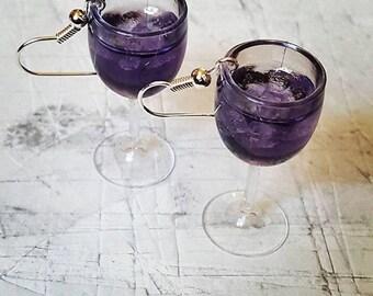Violet Gin Glass Earrings