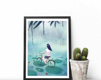 Waterlilies by night and bicycle - art print