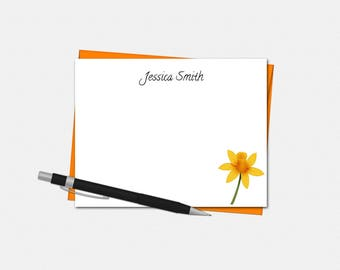 Personalized Daffodil Note Cards - Daffodil Stationery - Personalized Flat Note Cards - Daffodil Note Cards