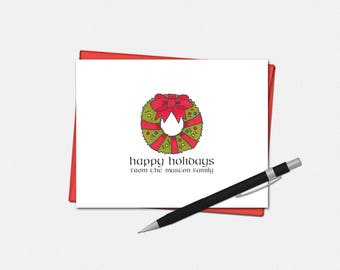 Happy Holidays Card - Personalized Happy Holidays Card - Personalized Holiday Card - Holiday Wreath Card - Custom Holiday Card