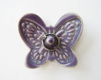 Butterfly Ring Dish in Shimmery Purple