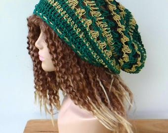 Pure Hemp dread tam/slouchy beanie dreadlocks hat/women men hippie hat green wheat/hemp slouchy hat/hemp beanie/Bohemian hemp slouch hat/
