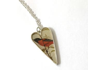 Handcrafted Silver-Plate Vintage Red and Black Tanager Bird Long Heart Resin Charm Pendant Necklace