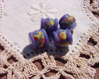 Dusty Plum Japanese Millefiori Vintage Glass Beads