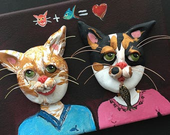 Cat Valentine Painting - Valentine's Day Art - Calico Cat Sculpture - Valentine's Day Gift - Tabby Cat Couple - Clay on Canvas - Cat Art