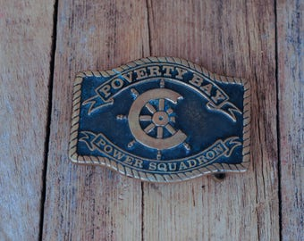 1970s, Sailing Belt Buckle, Boat Buckle, Poverty Bay Buckle, Solid Brass Buckle, USA made, Belt Buckle, Mens Gift, Guy Gift
