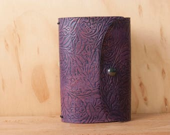 Tooled Leather Travelers Notebook - Midori Notebook for Moleskine Cahier or Field Notes - Floral Tooled leather in Purple