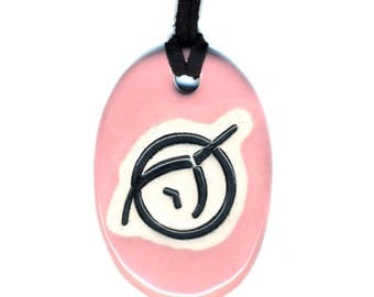 Invisible Pink Unicorn Ceramic Necklace in Baby Pink