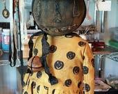 Primitive Pumpkin JOL Witch Doll Jackie Standing OOAK Halloween Jointed Head Fabric Black Kim Kohler Veenas Mercantile By Special Order Only