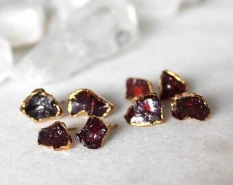 garnet earrings, garnet studs, raw garnet earrings, january birthstone, gold earrings, gold studs, gifts for her