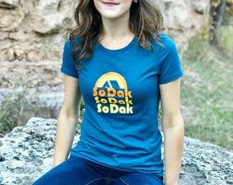 Women's SoDak Tee - Women's South Dakota Heather Teal T-shirt - SoDak Retro Camping Screen Printed Women's and Girls Tee by Oh Geez! Design