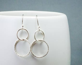 Delicate Silver Linked Hoop Earrings, Geometric Earring Gift for Her, Ready to Ship