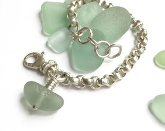 Vintage Sterling Silver Rolo Cable Chain Bracelet Frosty Aqua Seaglass Beach Glass Charm Recycled Upcycled Adjustable Size Swivel Clasp