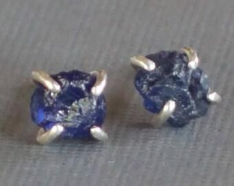 Raw Sapphire Studs, Blue Sapphire Studs, Genuine Sapphire, Natural Sapphire, Uncut Sapphire,  September Sapphire, Birthstone Studs, Nugget