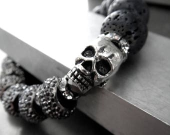 Black and Silver Skull Bracelet with Sparkle Encrusted Beads and Black Lava Beads, Adjustable Fit - Goth Gothic Punk Rocker Girl Jewelry