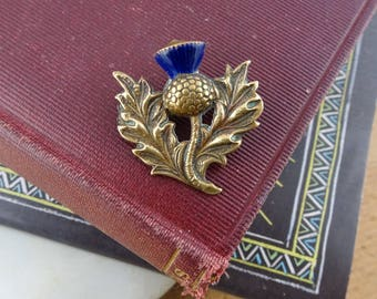 Vintage Scottish Thistle Brooch, Brass Thistle Pin, Blue Enamel, Scotland Jewellery