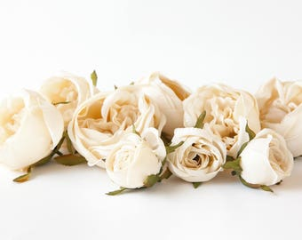 Set of 9 Small to Large Cabbage Roses in Cream - Silk Artificial Flowers -read description- ITEM 01131