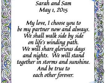 Pathways Colourful Border Custom Wedding Vows Print Personalized Handfast Certificate Wall Art Anniversary Renew Marriage Valentine's Day