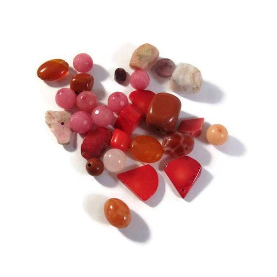 Gemstone Bead Mix, Red, Coral, Pink Opal, Gemstone Grab Bag, 28 Beads for Making Jewelry, Assorted Shapes and Sizes (L-Mix6b)