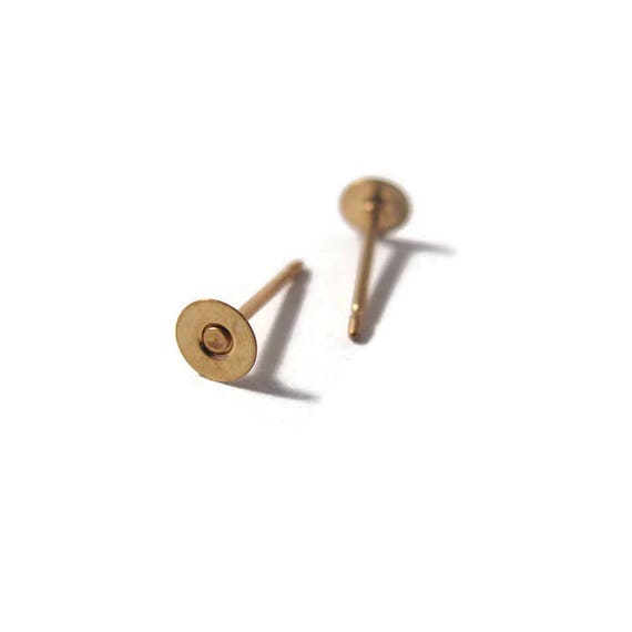 2 Gold Filled Pin Pads, 14/20 Gold Filled Findings, Set Of Two 4mm Flat Pin Pads for Making Jewelry (7901f)