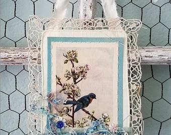 Bird Banner, Bird Illustration, Fabric Doily Wall Hanging, Woodland Wedding, Nursery Accent, Bird Ornament , Shabby Chic Picture, Home Decor