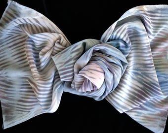 Tailored and Well-Dressed - Arashi Shibori Hand Dyed Crepe de Chine Silk Scarf