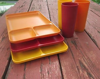 Three Vintage Tupperware Lunch Trays and Matching Tumblers - Vintage Tupperware Plastics - Divided Serving Trays and Beverage Glasses