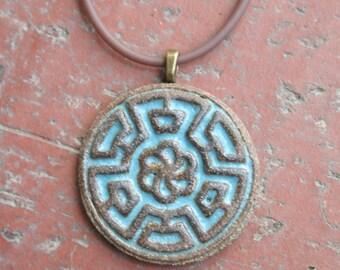 Chinese Blue Maze Stoneware Pendant