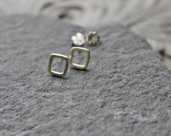 Square Tiny Sterling silver  Stud  Earrings, Metalwork, Minimalist sterling earrings, every day earrings