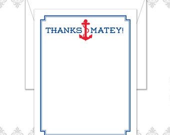 Thanks Matey Anchor Stationery Set of 10 note cards with envelopes, Anchor Stationery, Thanks Matey, Seaside stationery, Boat stationery