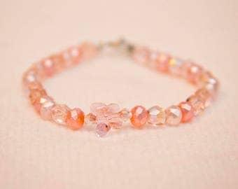 Butterfly bead bracelet, flower girl bracelet, pink bead bracelet, butterfly bead jewelry, czech glass bracelet, czech glass bead jewelry