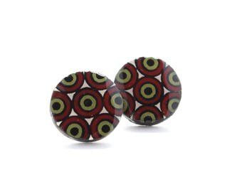 Large Geometric Wood Circle Stud Earrings, Big Stud Earrings for Men or Women, Comfortable Hypo Allergenic Surgical Stainless Steel Posts