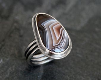 Beautiful Botswana Agate Ring Sterling Silver Chevon Statement Ring Geometric Earth Organic Natural Gem Color Bands Jewel Ring Triple Band