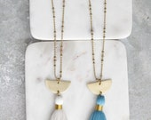 Tassel Long Necklace, long tassel necklace, Turquoise, Black or White