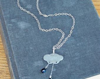 Portable Rainy Day. Aluminum cloud with glass teardrops on long necklace