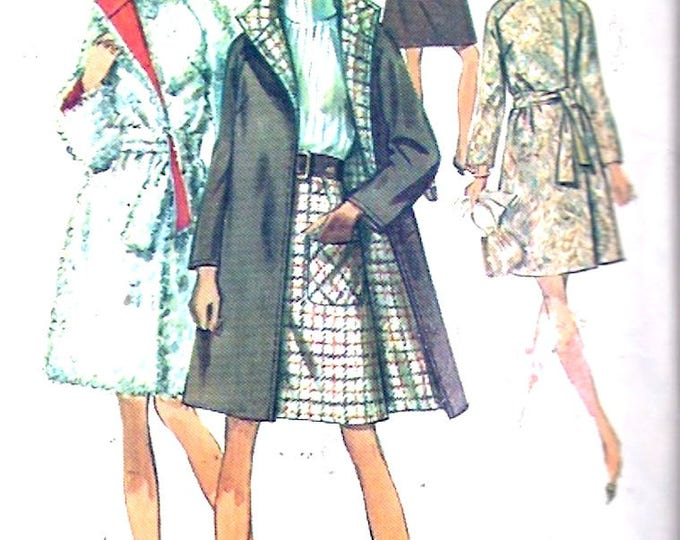 Reversible Mod coat skirt 60s Plus size fashion vintage sewing pattern Simplicity 8503 Bust 40