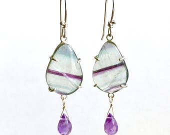 Fluorite and Amethyst Earrings in Sterling Silver, teal and purple, dangles
