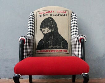 Portrait Armchair Rice Bag Chair, Black White and Red, Hijab Lady, Furniture Bergere Vintage Embroidery, Global Textile, Wingback Chair