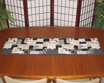 Rabbits, Cats, Goldfish Patchwork Look Design Japanese Quilted Fabric Table Runner Black