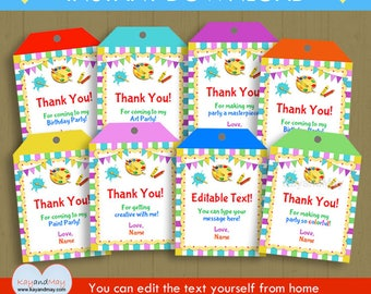Art Party favor tags paint theme birthday Thank You hang tags - INSTANT DOWNLOAD  #P-100 - You can edit text from home with Adobe Reader