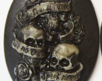 See no evil hear no evil speak no evil tattoo skulls - needleminder pinminder cabochon magnet needlecraft accessory