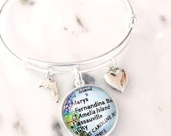 Amelia Island Bracelet - Amelia Island Charm Bracelet - Map Bracelet - Florida Bracelet - Travel Bracelet - Beach Bracelet - Wanderlust