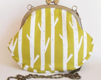 Frame purse with birch trees on chartreuse green with heart clasp and chain, ready to ship