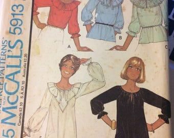 Vintage 1970s McCall's 5913 Misses' Blouses  Size 20  Bust 42 Complete Ruffled Blouse Peasant tops Pullover Blouse